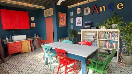 Trendy loft-style kitchen/diner in a converted office on St Faiths Lane, Norwich, which is for sale