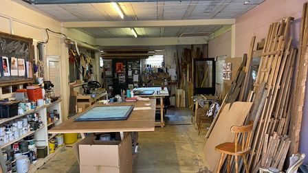 Artist's workshop on the ground floor of this 3-bed apartment on St Faiths Lane in Norwich which is for sale by auction
