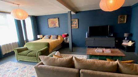 Huge loft-style bedroom with living area in this 3-bed converted apartment for sale by auction in Norwich