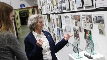 Guests at Northgate High School looking at the exhibition of the archives during the 'Past, Present and Future' evening