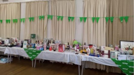 The raffle prizes at theMacmillan Coffee Morning in Toftwood