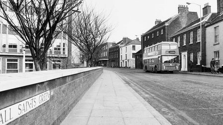 Norwich Streets A All Saints' Green looking towards John Lewis Store (Bonds) with the Norwich Union complex in 1985.