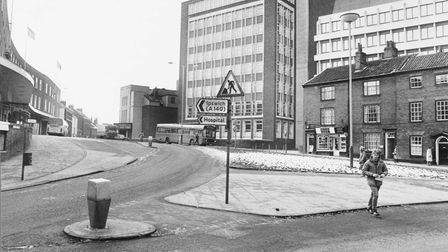 Norwich Streets A All Saints' Green looking towards the Norwich Union complex in 1985.