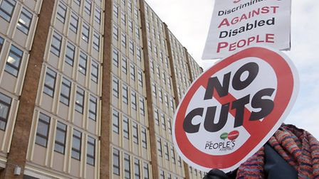 Protesters outside County Hall spreading the message on how they feel the cuts will impact on the pe