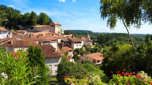 View of the charming village of Aubeterre sur Dronne in Charente, France, with its typical old houses