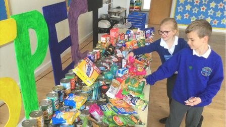 Pupils at Thomas Eaton Primary Academy helped pack the food up ready for it to be taken to March foodbank.