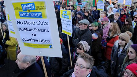 The Campaign to Save Mental Health Services in Norfolk and Suffolk protest taking place in Norwich c