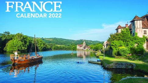 FRANCE Calendar 2022 cover with a French river and old boat in summer