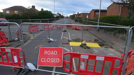 Plumstead Road in Norwich shut off because of a hole discovered by contractors laying cables.PHOTO B