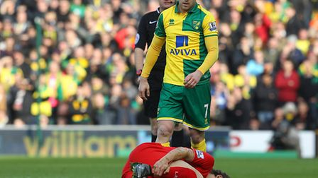 Norwich City's squad had to sit and watch the 5-4 Premier League defeat to Liverpool. Picture by Pau