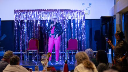 Performer Penny Rutterford doing a stand up set at the Barking Finale Festival.