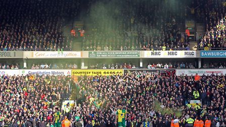 A smoke flare is let off after Norwich City's first goal. Picture: Paul Chesterton/Focus Images