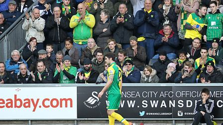 Norwich fans travelled again in big numbers to the Premier League game at Swansea City. Picture by P