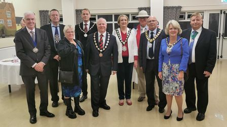 Group of people including Great Dunmow mayor Patrick Lavelle with Town Awards winners