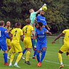Barking in Isthmian North action against Basildon United