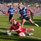 Max Malins scores Saracens'second try againstBath.