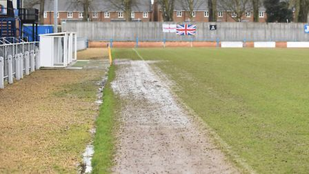 A wet Walks on Saturday, the home of King's Lynn Town. Picture: IAN BURT