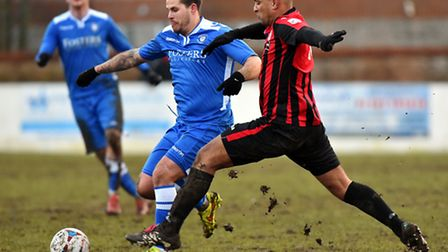 Lowestoft Town (blue/ white) v Brackley Town at Crown Meadow.National League North.Danny Crow.Pictur
