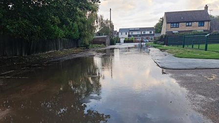 Burwell resident Tracy Hilborn took this photo of flooding near the sports centre this morning.