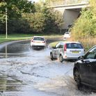 Motorists were seen driving through the flooding on the Bury St Edmunds roundabout on Tuesday