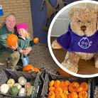 Camilla Stacey (L) and her daughter Ellie Veal (R) from Pumpkins at Freshfields have donated pumpkins.