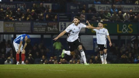 Wes Burns celebrates making the score 4-0 at Portsmouth in the second half