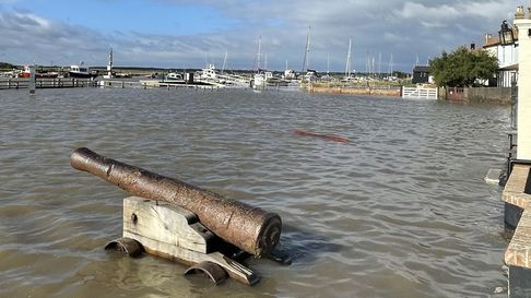 Flooding has swamped the harbour in the Suffolk seaside town