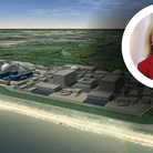 Liz Truss, the Foreign Secretary, and a CGI model of how Sizewell C could look