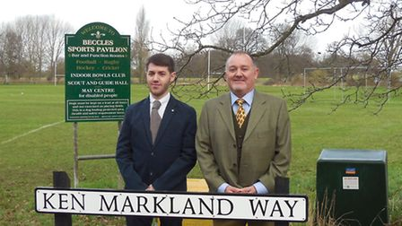 David Markland and son Robert helped to unveil the new street sign in honour of father and grandfath