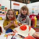 Youngsters taking part in apple themed crafts at the Apple Day at the Museum of East Anglian Life