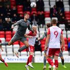 Jake Taylor of Stevenage FC and Harry Smith of Leyton Orient FC during Stevenage vs Leyton Orient, S