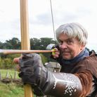Alan Baxter, owner of Arnor Heritage, giving long bow lessons as part of the Ring Quest at West Stow