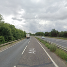 The A14 is partially blocked after a crash near Bury St Edmunds