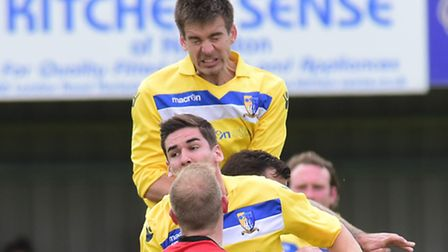 Steve Shipley made his 500th appearance for Norwich United in their Norfolk Senior Cup semi-final vi