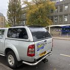 4x4 without insurance parks outside police station