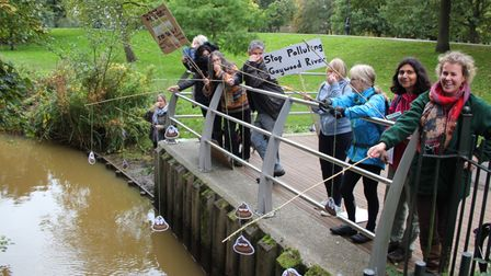 Extinction Rebellion activists took their fishing rods to the stretch of the Gaywood River inThe Walks.