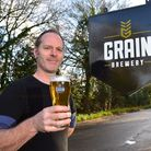 Grain brewery have now started making a Pilsener beer.Phil Halls with the new beer.PHOTO: Nick Butch