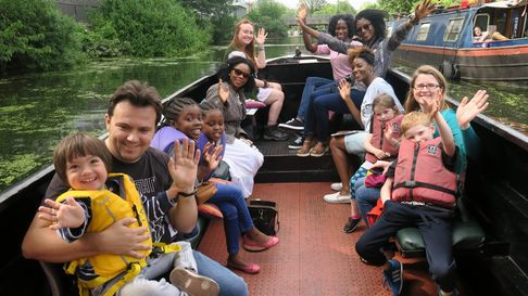 Enjoying boat trip at 2017 summer festival on the Regent's Canal