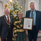 The Great Dunmow Civic Service - Left: Mayor Patrick Lavelle with Helen and John Wright; Right: David Beedle and Andy King