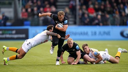 Max Malins makes a break during Saracens' win over Wasps in the Premiership.