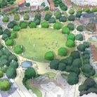 Drawings of a proposed housing estate for Easton and Dunmow. In the centre, an oval-shaped park.