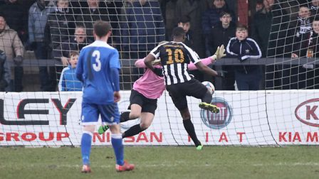 Darren Stephenson of Chorley FC scores the second goal against Lowestoft Town during the National Le