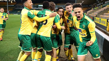 Todd Cantwell is mobbed by team-mates after scoring the winning goal against Middlesbrough. Picture: