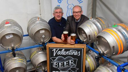 It's On The Ball chairman Vince Wolverson and Trafford Arms landlord Nick De'Ath ready for the Valen