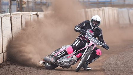 Carl Wilkinson, pictured during a few practice laps at the Adrian Flux Arena, will not be ride for K