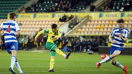 Action from Norwich City U21s' 4-4 draw with Reading at Carrow Road, City Glenn Middleton scores an