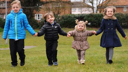 The Goodwin children, from left, Alex 8, Hunter, 4, Winter, 2, and Honey, 7, from Thetford. Alex, Ho
