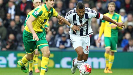 Timm Klose was again a key figure in Norwich City's 1-0 Premier League win at West Brom. Picture by
