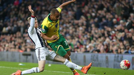 Vadis Odjidja tussles for the ball in Norwich City's 1-0 Premier League win over West Brom. Picture