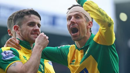 Robbie Brady and Gary ONeil celebrate the winning goal. Picture: Paul Chesterton / Focus Images